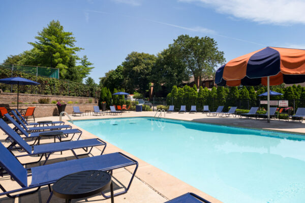 A recliner view of the pool at Chesterfield Village Apartments