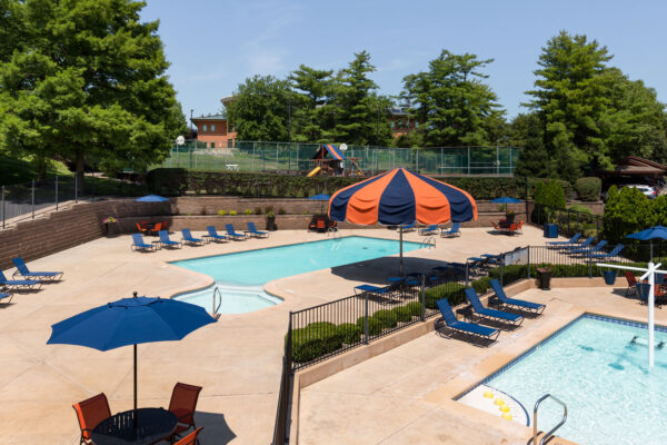 An aerial view of the kiddie pool and main pool from the Chesterfield Village Apartments clubhouse
