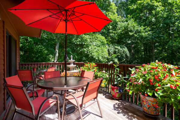 An outdoor patio deck at Chesterfield Village Apartments
