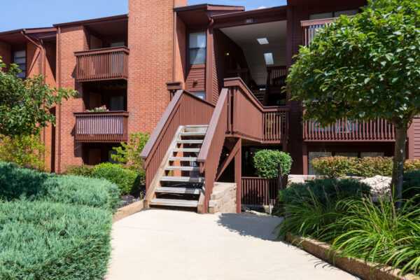 A dedicated entry to apartments at Chesterfield Village Apartments