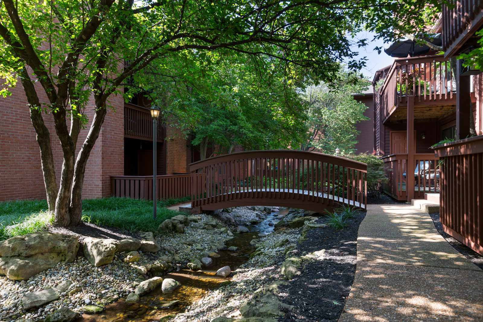 A bridge and nature at Chesterfield Village Apartments