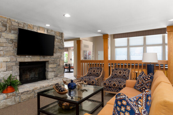The fireplace hangout in the clubhouse at Chesterfield Village Apartments