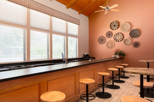The bar at the clubhouse at Chesterfield Village Apartments