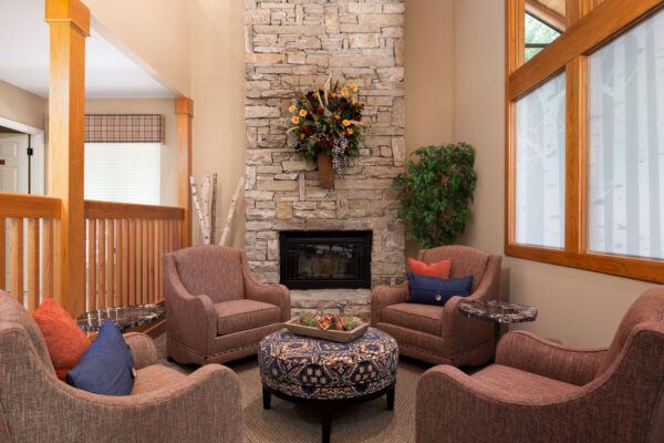 A fireplace and meeting spotat Chesterfield Village Apartments