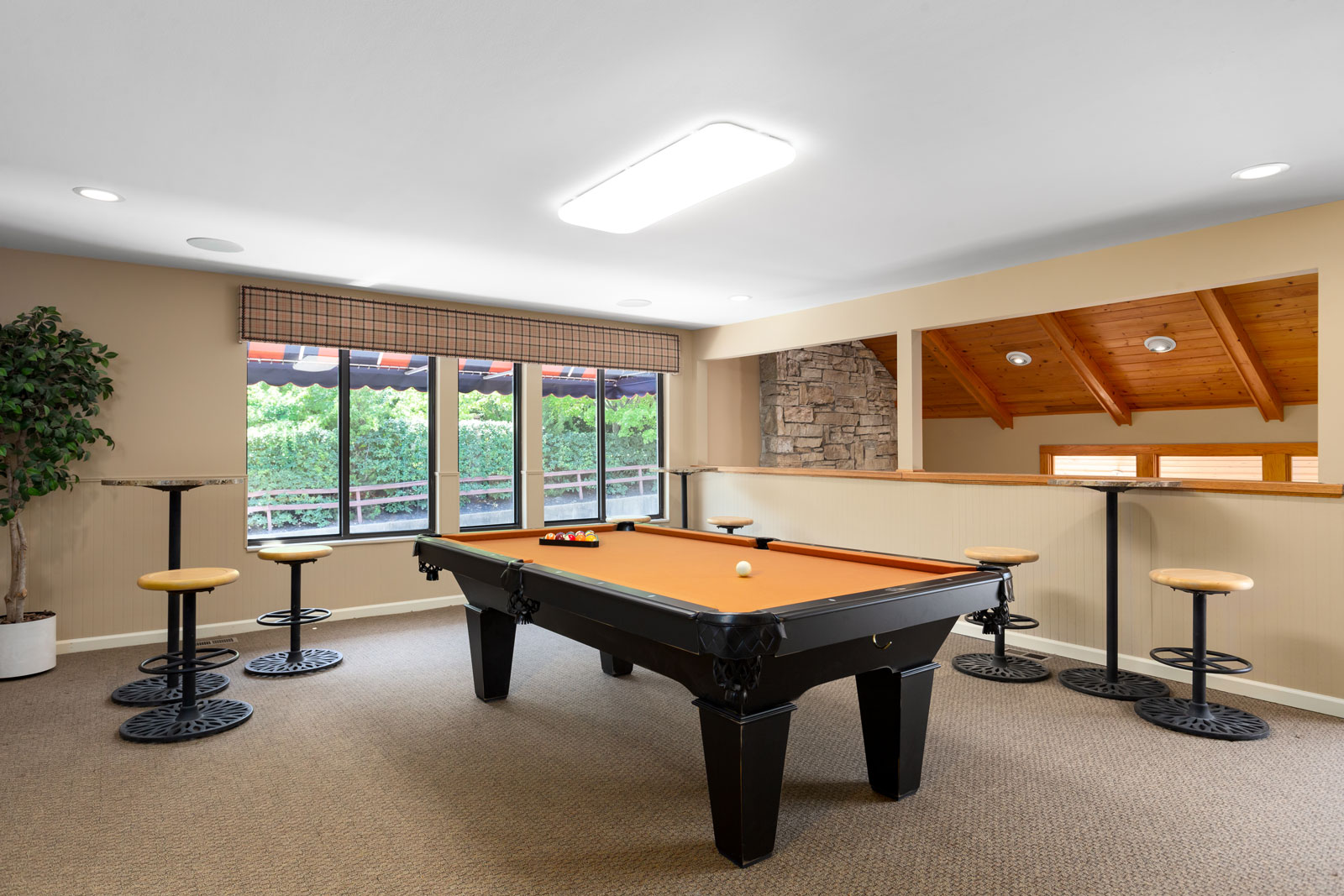 A pool table in the clubhouse of Chesterfield Village Apartments