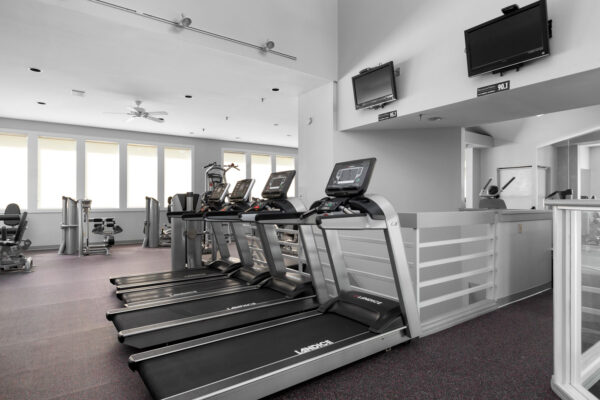 treadmills at the fitness center at Chesterfield Village Apartments