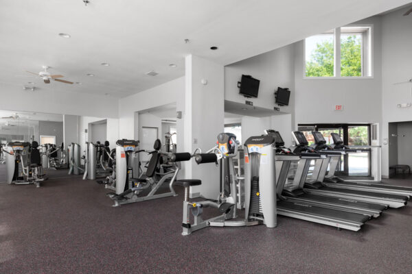 Fitness center at Chesterfield Village Apartments