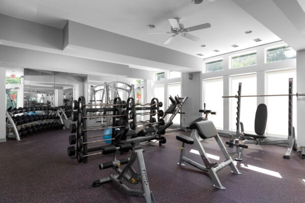 Weight room at Chesterfield Village Apartments