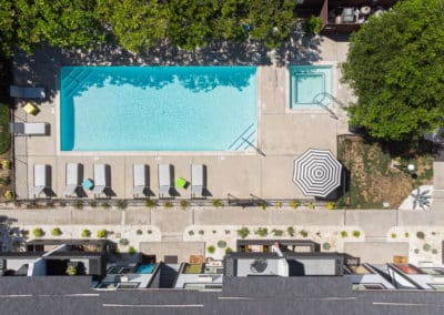 Drone view of the pool at Eastside Apartment Homes