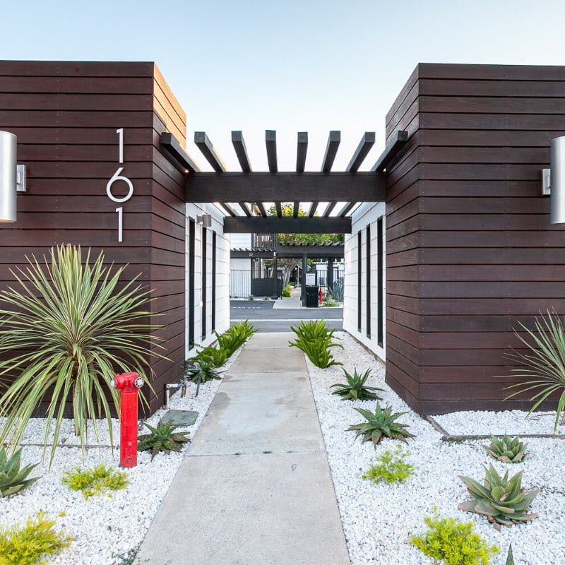Entrance to the 161 building of Eastside Apartments in Costa Mesa, CA