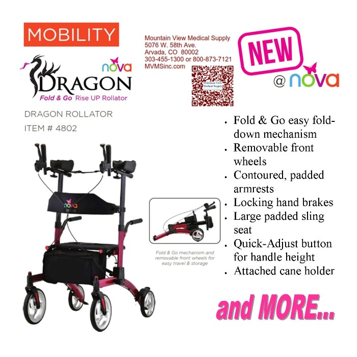 photo of Nova 4802 Dragon Fold & Go Rise UP Rollator from Mountain View Medical Supply