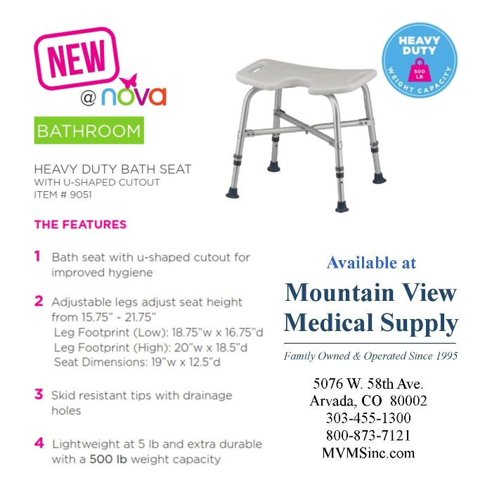 photo of 9051 Heavy Duty Bath Seat with U-Shaped cutout from Mountain View Medical Supply