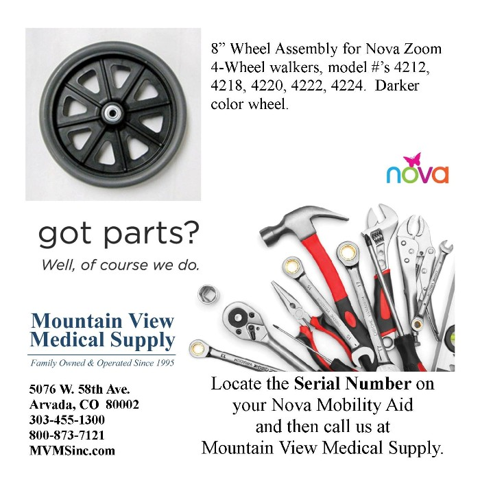"""photo of Nova 42074D 8"""" Wheel Assembly for Nova Zoom Walkers/Rollators from Mountain View Medical Supply"""
