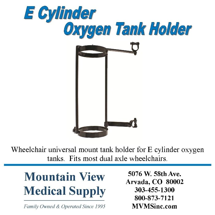 Wheelchair universal mount for E Cylinders Oxygen Tank Holder OX015 at Mountain View Medical Supply