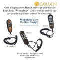 photo of Golden Replacement Lift Chair Hand Control ZK1200-HC-1, ZKAD-1, ZKAD-5 from Mountain View Medical Supply