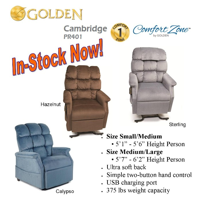 Photo of Golden Technologies PR401 Cambridge Lift Chair in Sterling PST, Calypso PCA, Hazelnut PHA from Mountain View Medical Supply