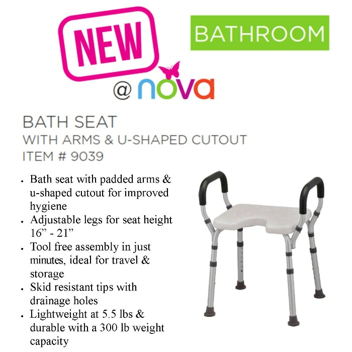 photo of Nova 9039 Bath Seat with arms and U-Shaped Cutout from Mountain View Medical Supply