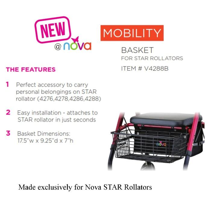 photo of New Nova Front Basket V4288B for Nova STAR Rollators at Mountain View Medical Supply