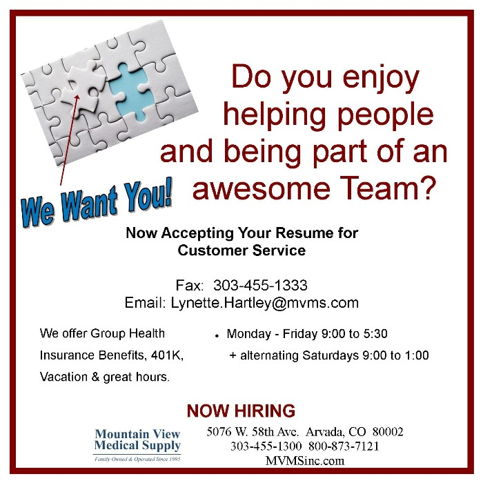 Mountain View Medical Supply is Hiring!