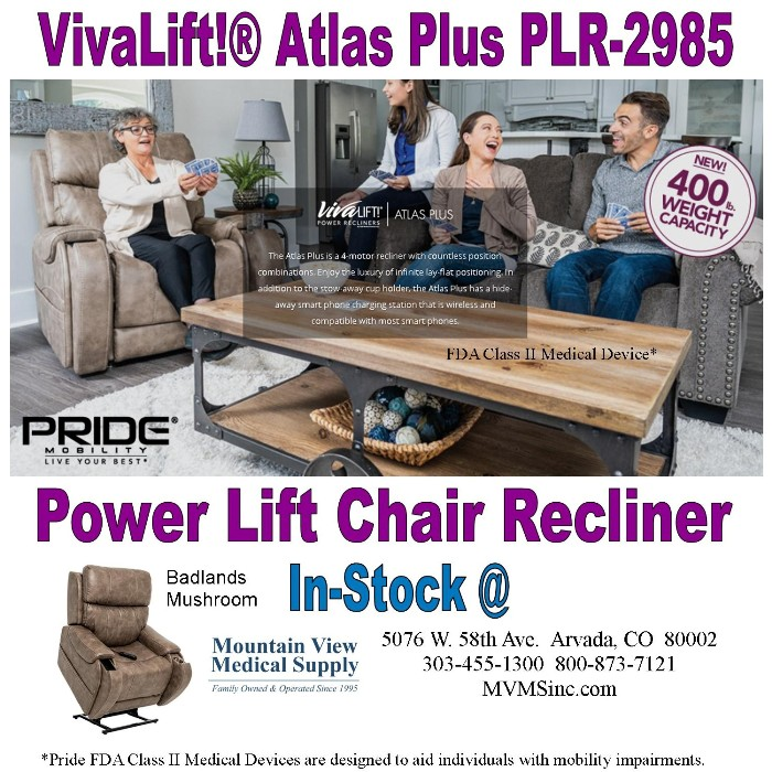 Photo of Pride Mobility VivaLift! Atlas Plus Power Recliner PLR-2985-STE in Badlands Mushroom at Mountain View Medical Supply