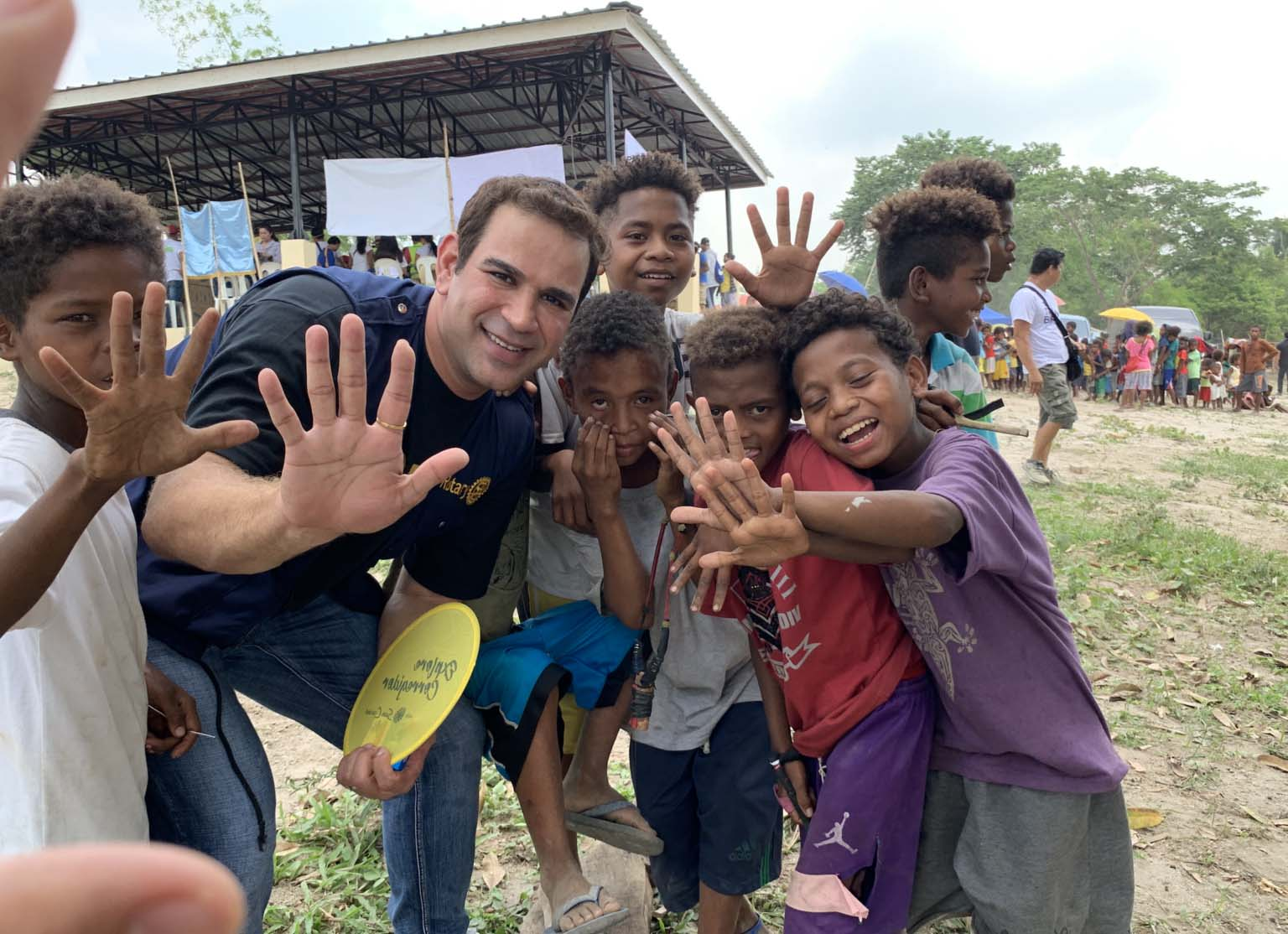 James With Kids on Charity Mission-black and white