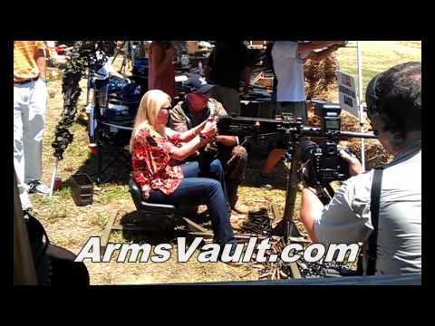 Girl Shooting Browning 50 Caliber Machine Gun