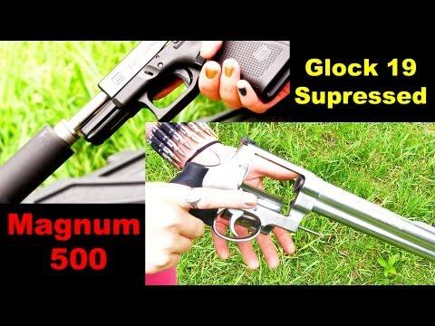Suppressed Glock 19 and S&W 500 Magnum