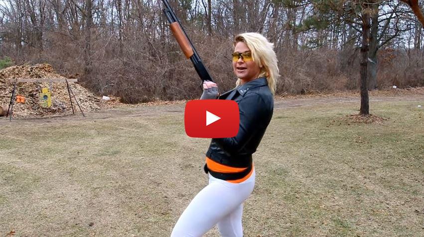 Cailie Shooting the Mossberg 500 20 Gauge Shotgun