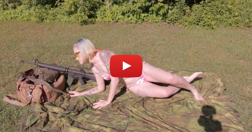 Amanda Shooting a Colt AR-15 A-2