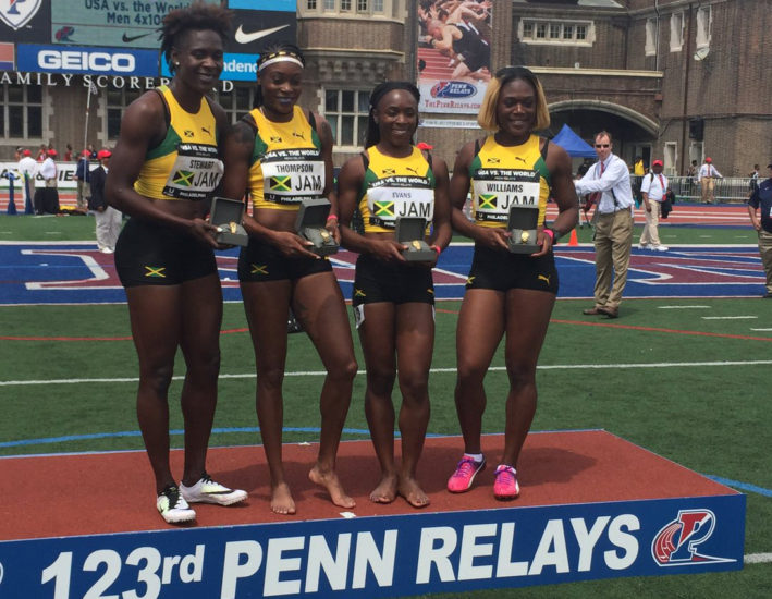 Thompson Powers Jamaica 4x100m To Win In USA vs. The World Series