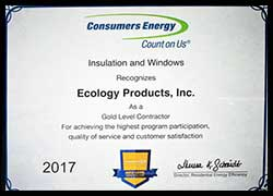 Consumers Energy Award for Blown Insulation MI