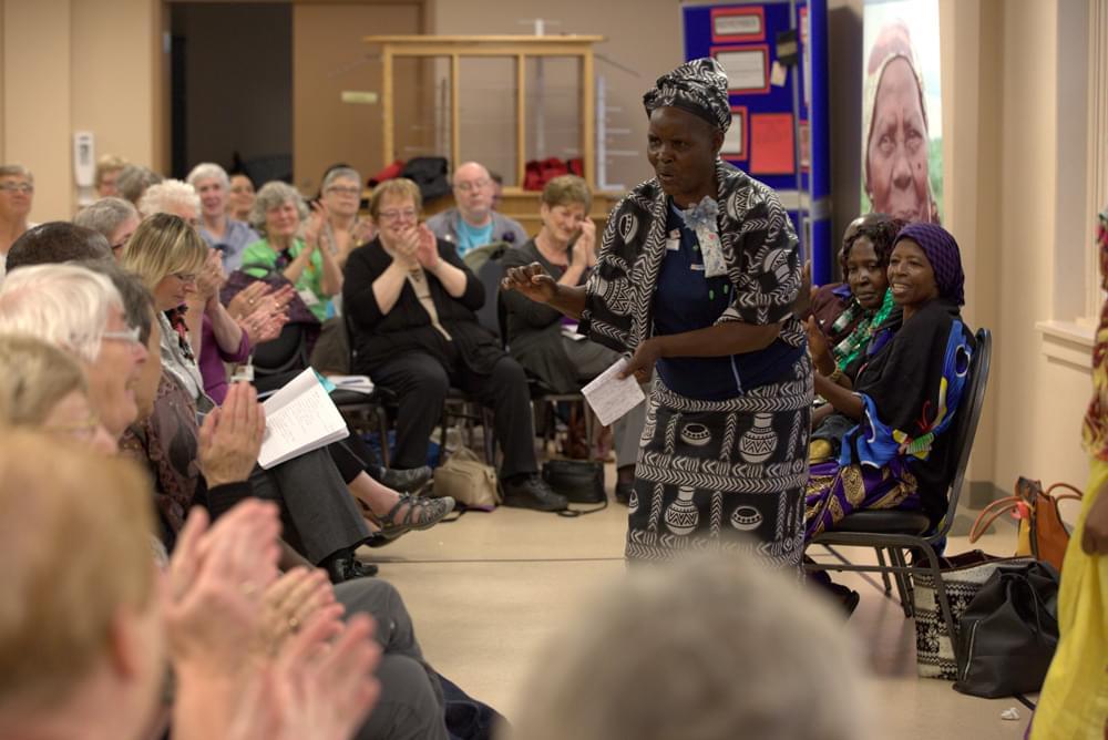 woman addressing a crowd