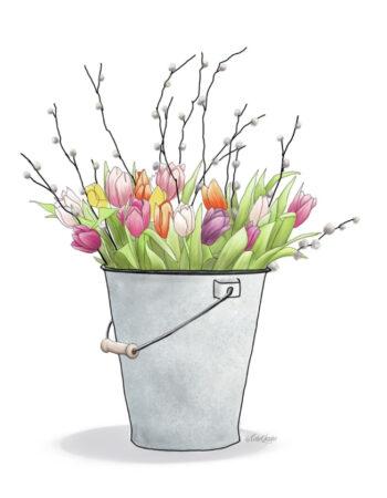 Spring Floral Bucket