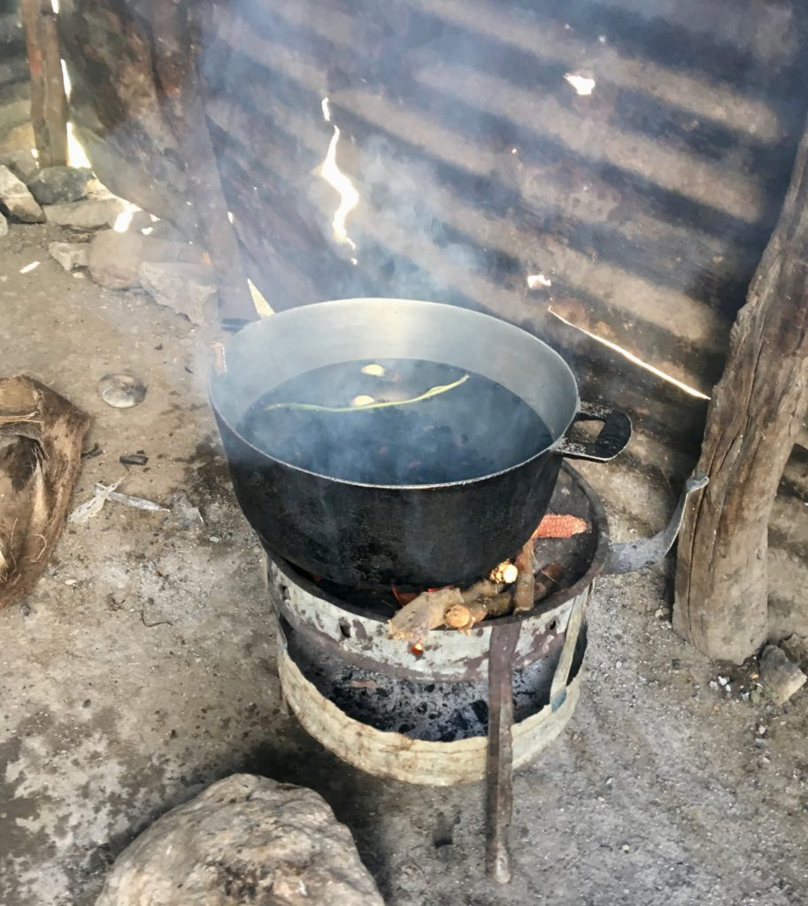 Cooking with charcoal