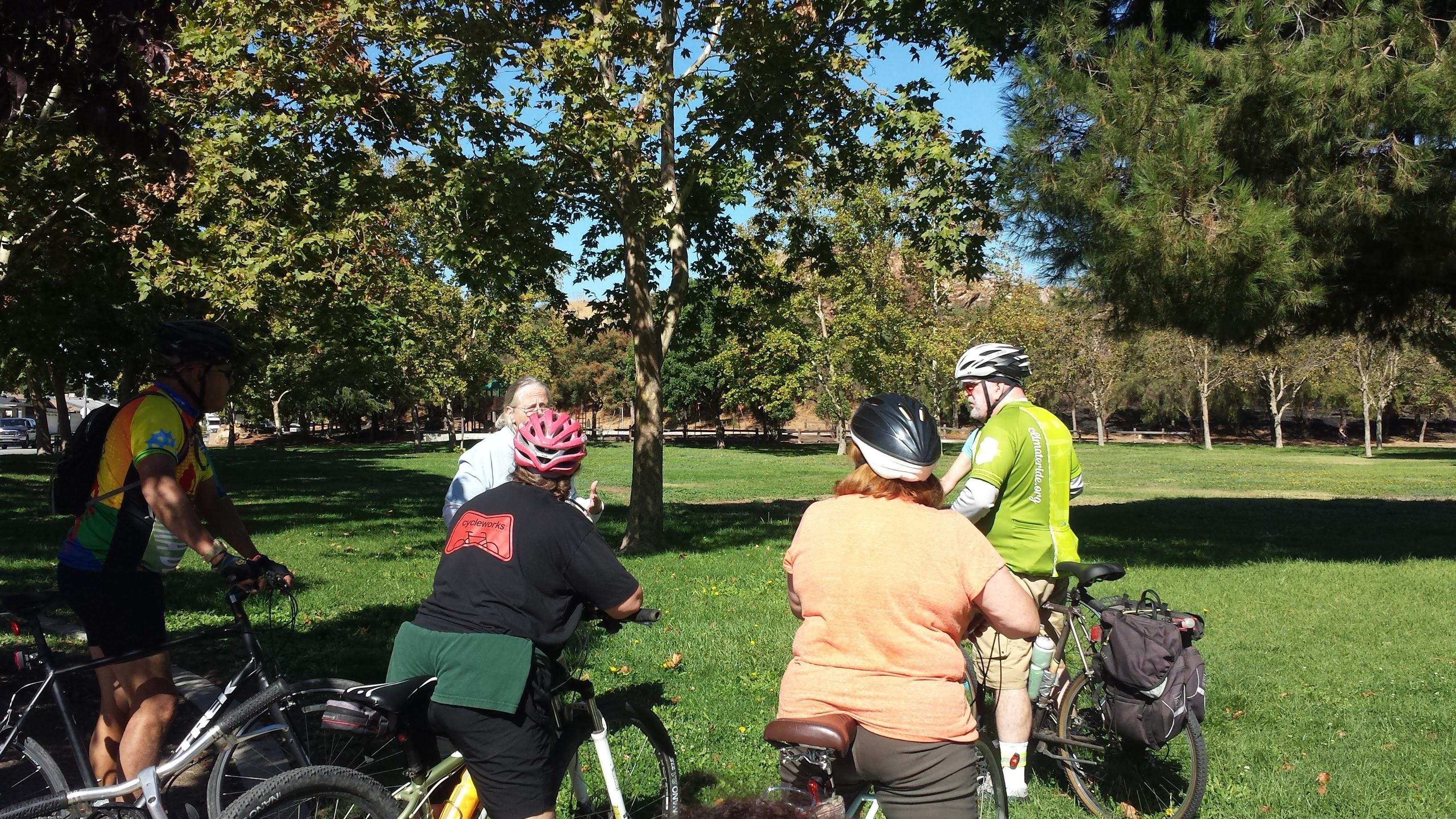 Jean Dresden leading a tour of a San Jose park.