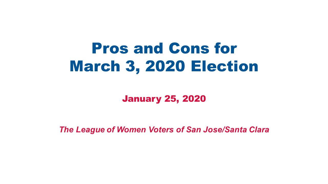 League of Women Voters explains some of the March 3, 2020 Primary Election ballot initiatives.