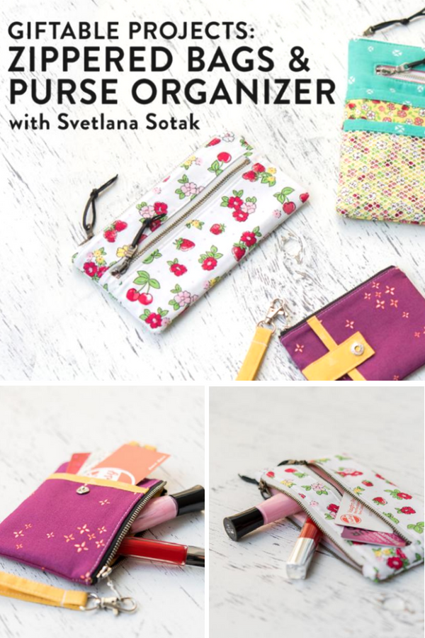 Learn how to make giftable projects & zipper bags by watching the full tutorial here. Class also comes with a purse organizer to keep everything in it's place. The bags are perfect for everyday use, featured options include: zipper, pockets, wristlet and more.