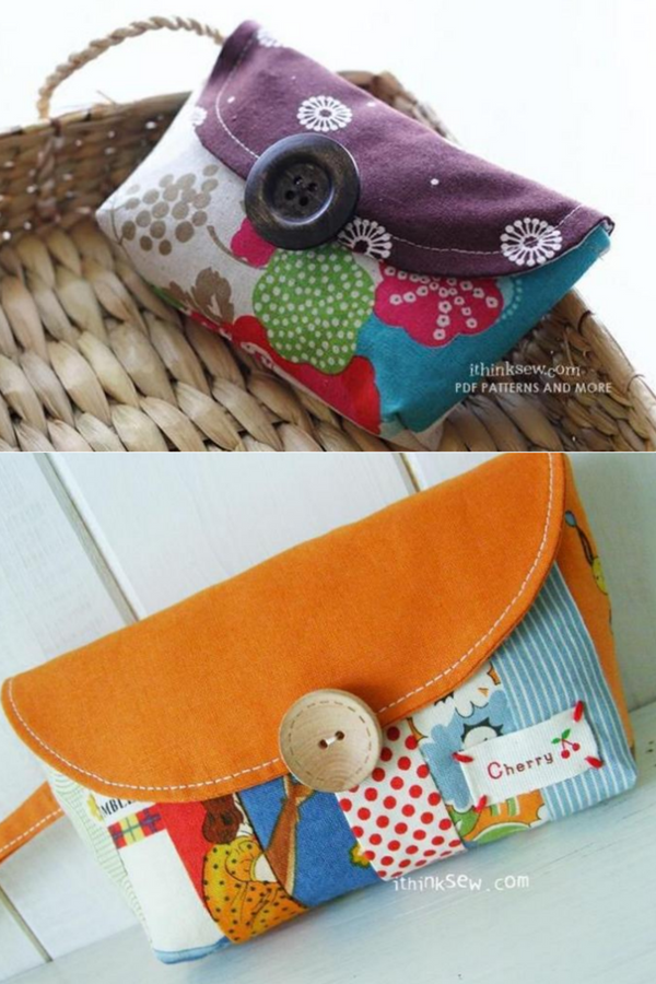 The free colorful clutch purse pattern is designed for using up your smaller pieces of fabric to create an eye catching handbag.