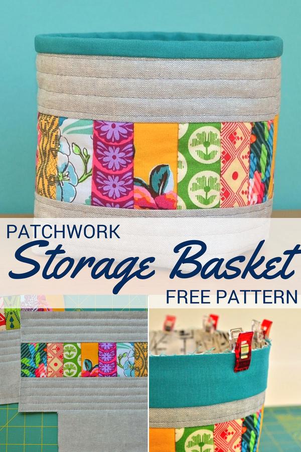 Patchwork Storage Basket   Free Pattern