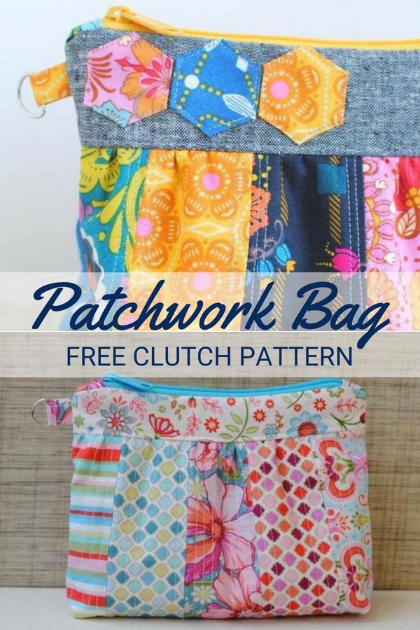 Patchwork Zipper Clutch | Free Pattern