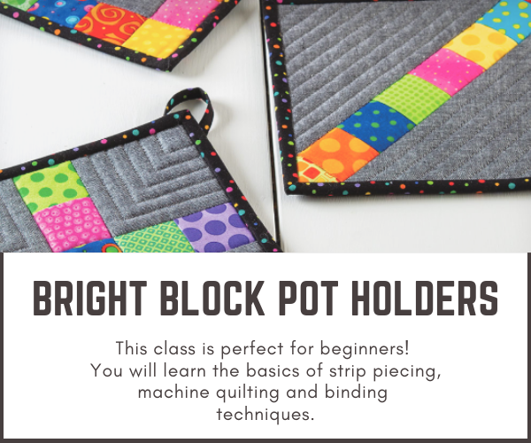 Easy Block Pot Holders - Learn to Sew Online- Sewing With Scraps