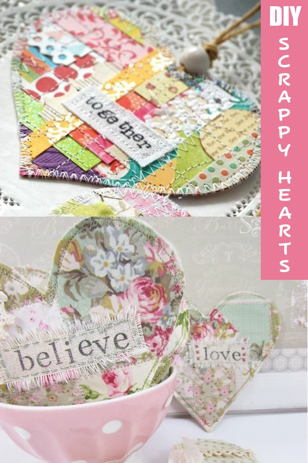 DIY scrappy hearts from fabric and felt