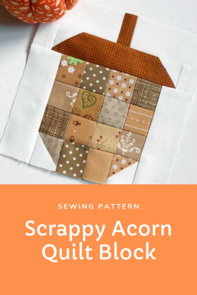 Scrappy Acorn Quilt Block