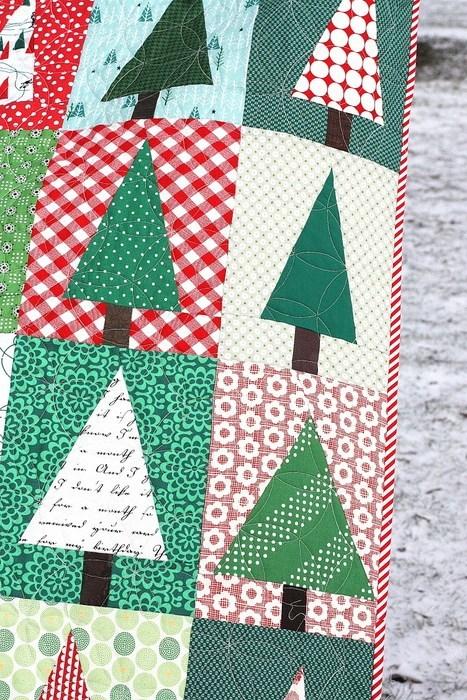Modern Christmas Trees Quilt Block