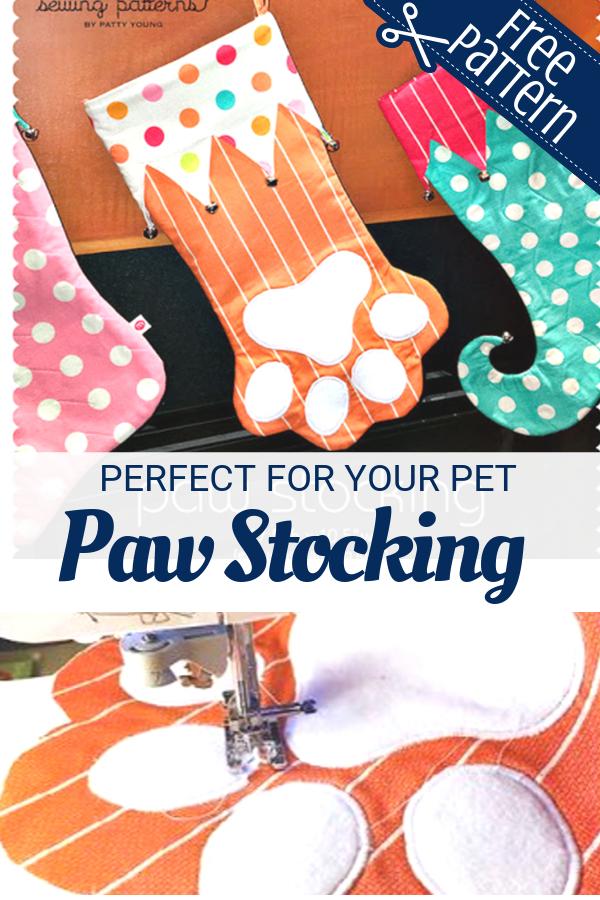Free Paw Stocking pattern for your pet. DIY holiday dog stocking.