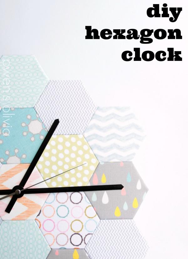 DIY Hexagon Clock made with fabric scraps.