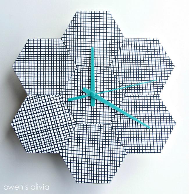 DIY Wall Clock made with fabric hexagons