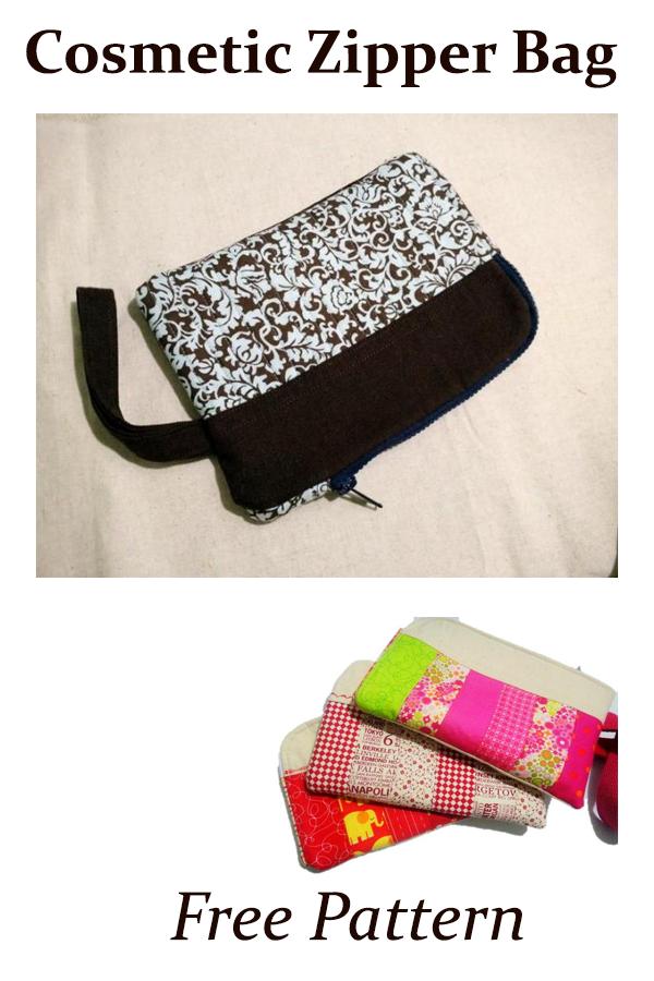 Cosmetic Zipper Bag  Free Pattern #freesewingbag #sewingpattern