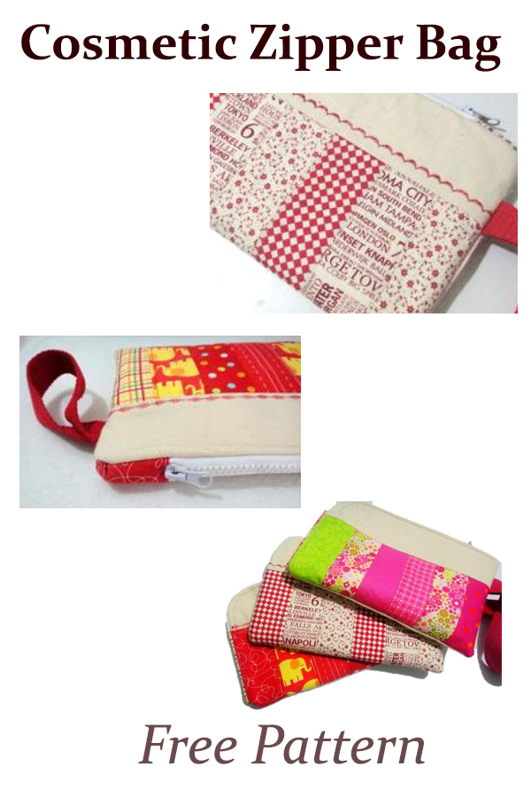 Cosmetic Zipper Bag  Free Pattern