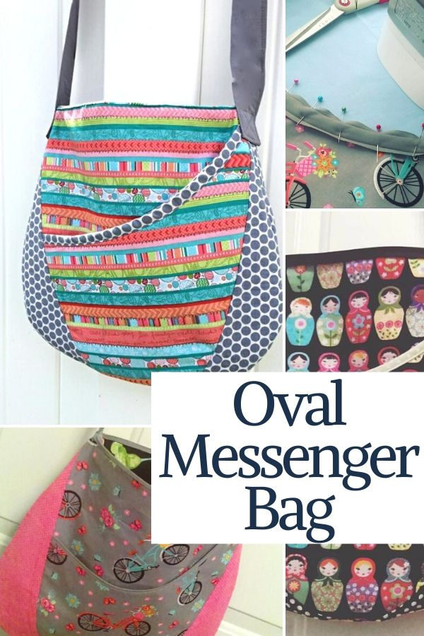 Show off your style with this oval messenger bag. Free pattern is fun to make and great for using up your fabrics. #freesewingpattern #sewingpattern #bagpattern